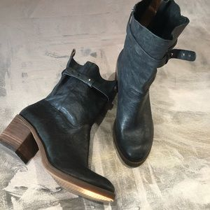 Lucky Brand Black Leather Heel Moto Boot -7M